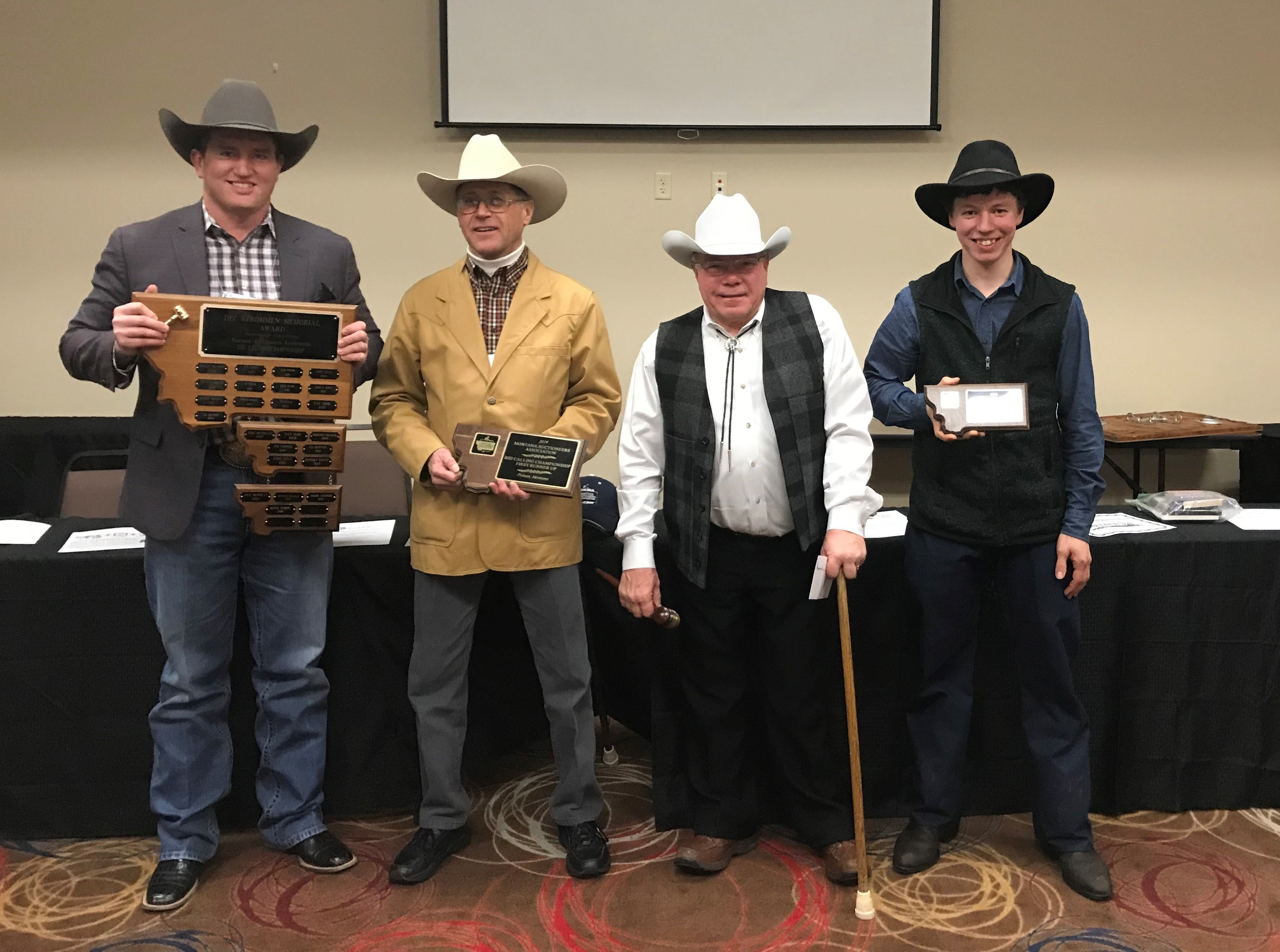 Left to Right: Bid Call Champion Steven Goedert, 1st Runner Up Robert McDowell III, 2nd Runner Up Jayson Shobe, Rookie Champion Daniel Yoder