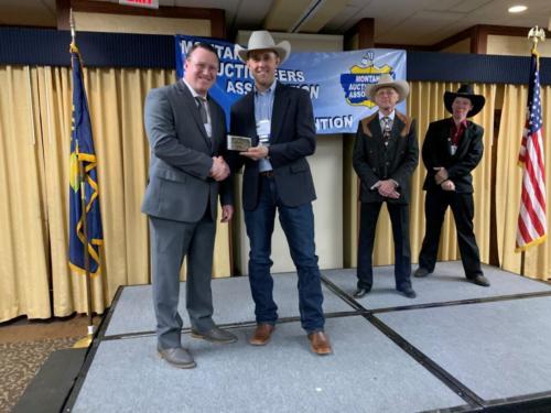 2020 Montana Auctioneers Association Bid Calling Champion Dan Goss with MAA VP Nick Bennett