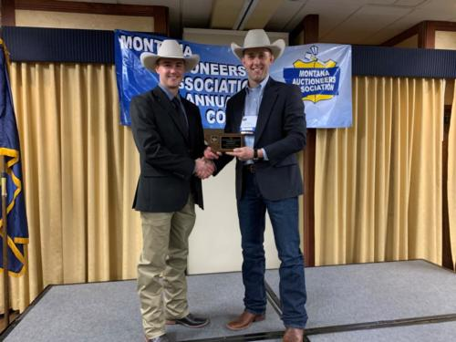 2020 Montana Auctioneers Association Rookie Champion Cole Morrison with MAA VP Nick Bennett